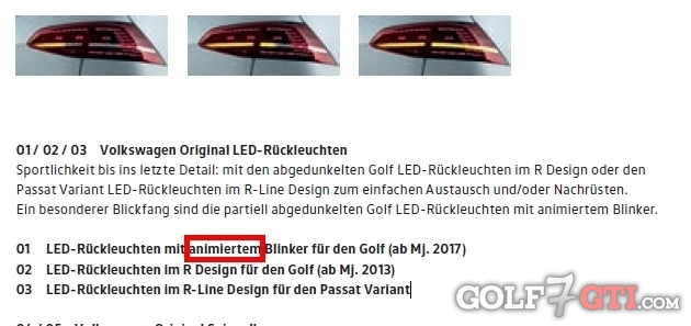 led r ckleuchten golf 7 facelift an golf 7 gti golf 7. Black Bedroom Furniture Sets. Home Design Ideas